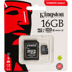 Карта памяти MicroSD  16GB  Kingston Class 10 Canvas Select UHS-I U1 (80 Mb/s) + SD адаптер
