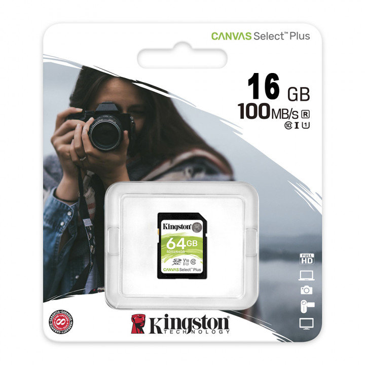 Карта памяти MicroSD 16GB Kingston Class 10 Canvas Select Plus UHS-I U1 (100 Mb/s) + SD адаптер
