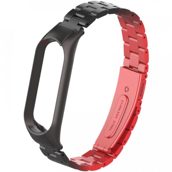 Металлический ремешок для Xiaomi Mi Band 5 (Черно-красный)
