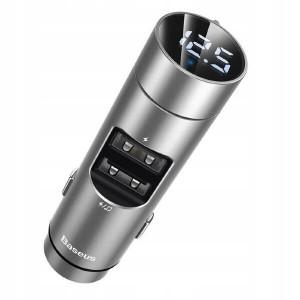 Автомобильная зарядка + FM-трансмиттер Baseus Energy Column Car Wireless MP3 Charger Wireless 5.0+5V/3.1A (CCNLZ-0S) (Серый)