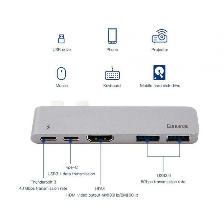 Переходник Baseus Thunderbolt C+ Dual Type-C to (2-USB/HDMI/2-Type-C) (CAHUB-B0G)