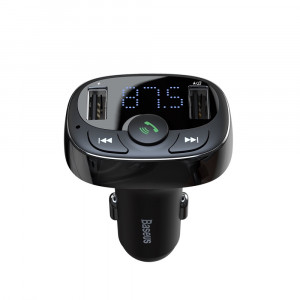 Автомобильная зарядка FM-трансмиттер Baseus Typed Bluetooth MP3 charger (S-09A) (Черный)