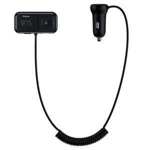 Автомобильная зарядка FM-трансмиттер Baseus T typed Wireless MP3 Car Charger (S-16) (CCTM-E01) (Черный)