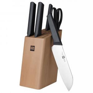 Набор ножей Xiaomi Huo Hou Fire Kitchen Steel Knife Set с подставкой (6 предметов)