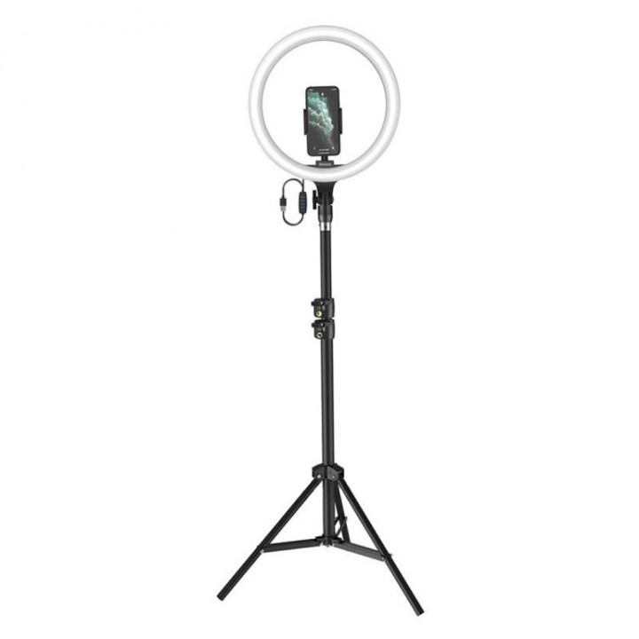 Трипод-штатив с подсветкой для смартфона Baseus Live Stream Holder-floor Stand (12-inch Light Ring) Black (CRZB12-B01)