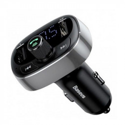 Автомобильная зарядка FM-трансмиттер Baseus Typed Bluetooth MP3 charger (CCALL-TM0A) (Хром)