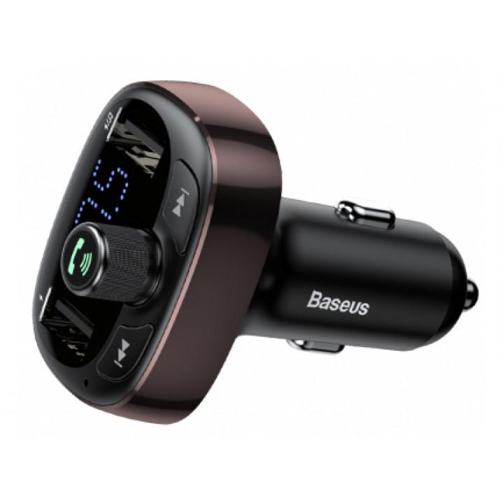Автомобильная зарядка FM-трансмиттер Baseus Typed Bluetooth MP3 charger (CCALL-TM12) (Коричневый)