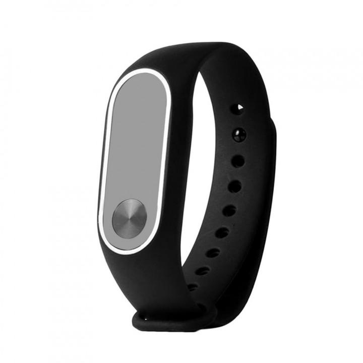 Силиконовый браслет с рамкой Xiaomi Mi Band 2 (Черно-белый)