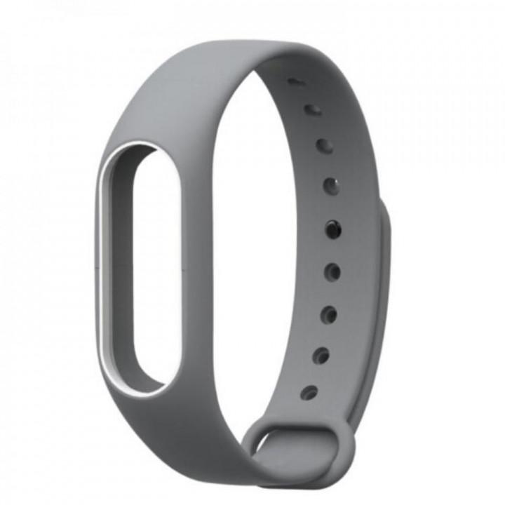 Силиконовый браслет с рамкой Xiaomi Mi Band 2 (Серо-Белый)