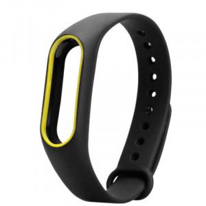 Силиконовый браслет с рамкой Xiaomi Mi Band 2 (Черно-желтый)