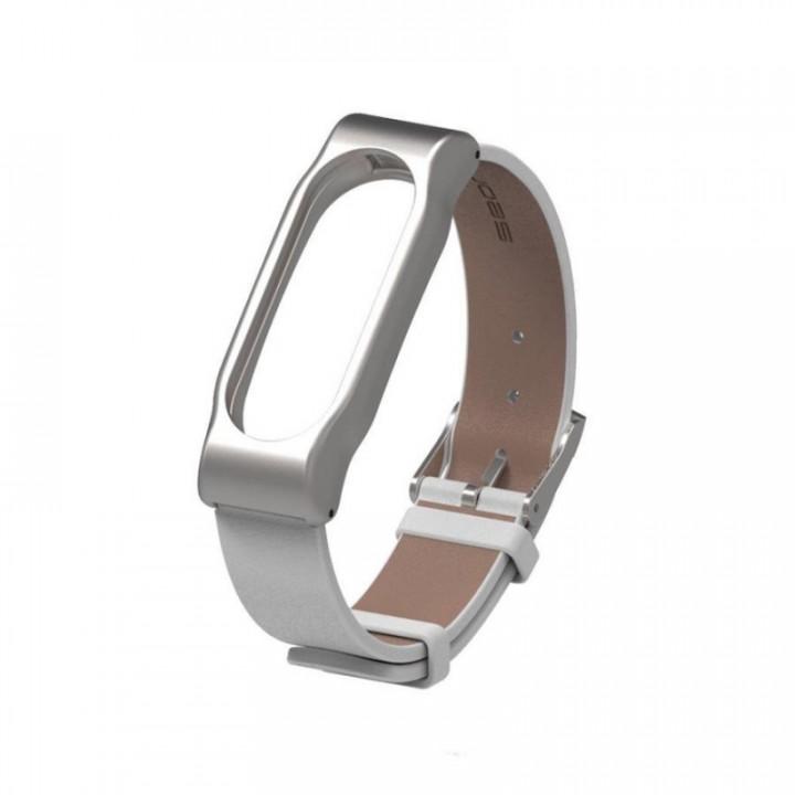 Ремешок кожаный для Xiaomi Mi Band 2 (Белый)