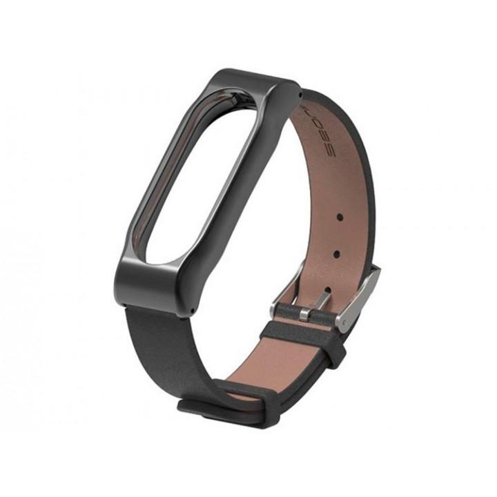 Ремешок кожаный для Xiaomi Mi Band 2 (Черный)
