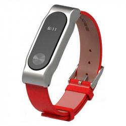 Ремешок кожаный для Xiaomi Mi Band 2 (Красный)