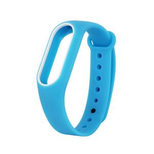 Силиконовый браслет с рамкой Xiaomi Mi Band 2 (Голубой-белый)