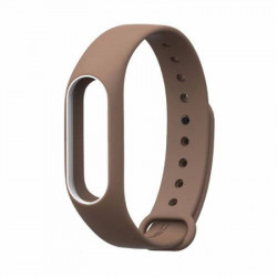 Силиконовый браслет с рамкой Xiaomi Mi Band 2 (Коричнево-белый)