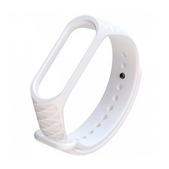 Силиконовый ремешок Mi Band 3 Структурный (Белый)