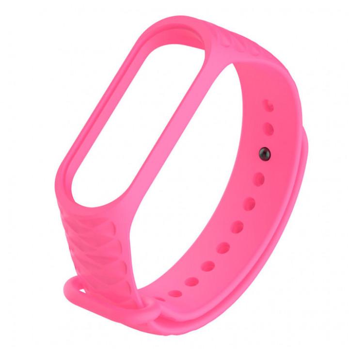 Силиконовый ремешок Mi Band 3/ Mi Band 4 (Структурный)(Розовый)