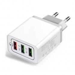 Сетевое зарядное устройство AUZER AWC5 (QC 3.0/3USB/5А/25W)(Белый)