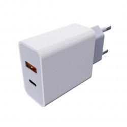 Сетевое зарядное устройство AUZER AWC9 (PD/QC 3.0/USB+USB Type-C/3.5А/18W)(Белый)