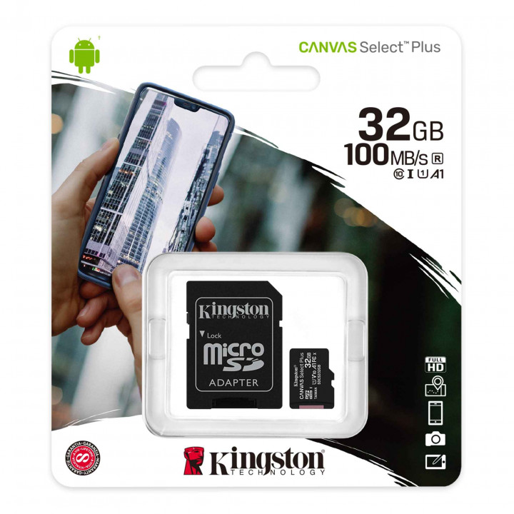 Карта памяти MicroSD 32GB Kingston Class 10 Canvas Select Plus UHS-I U1 (100 Mb/s) + SD адаптер