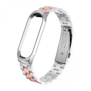 Металлический ремешок для Xiaomi Mi Band 5 (Серебристо-розовый)