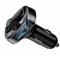 Автомобильная зарядка + FM-трансмиттер Baseus Typed Bluetooth MP3 charger (S-09) (CCALL-TM01) (Черный)
