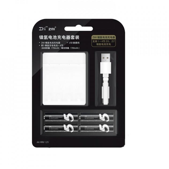 Зарядное устройство Xiaomi ZMI с аккумуляторами AA (4 шт) (Белый) (PB401)
