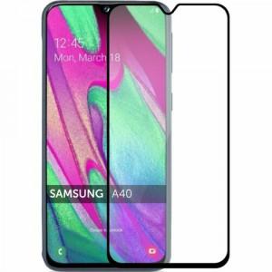 Защитное стекло Samsung Galaxy A40 (Черное)