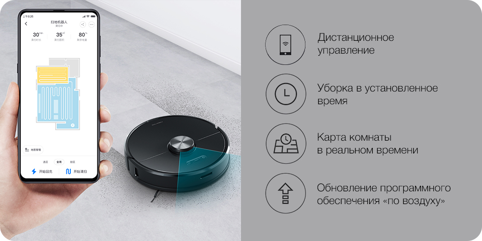 Робот-пылесос Xiaomi Roborock Smart Sweeping Vacuum Cleaner (S6) (черный)