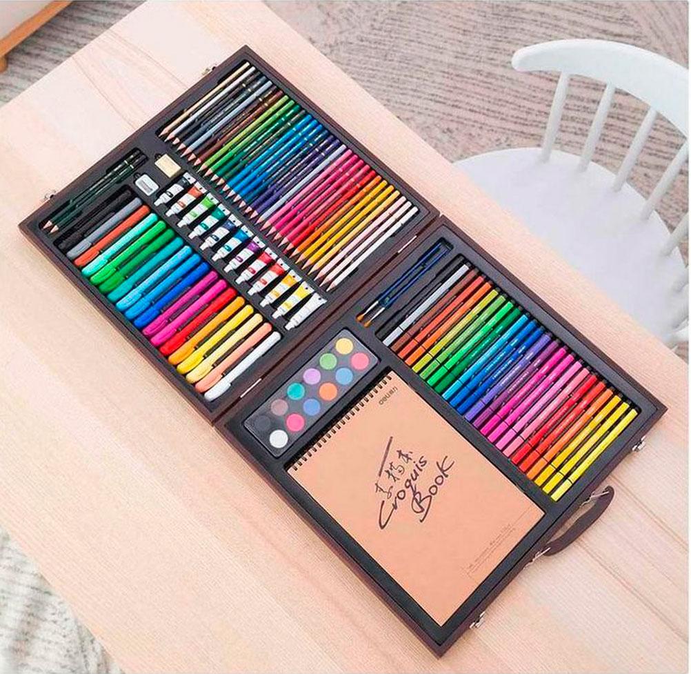Opisanie Nabor Dlya Risovaniya Xiaomi Deli Painting Set Wooden Box 1